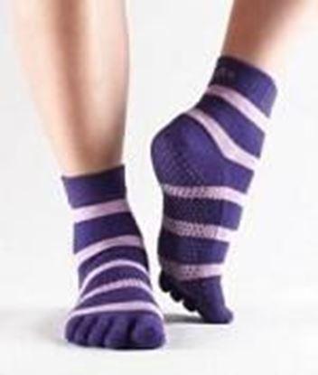 Picture of Toe Socks - Purple stripe - Small